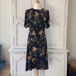 H&M's Floral Pront Shirt Sleeve Black Dress